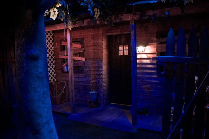 Spooky front porch from our Revenge of the Cabin escape room!